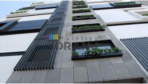 شماتیکی از کاربرد رنگ نمای ساختمان بتنی
